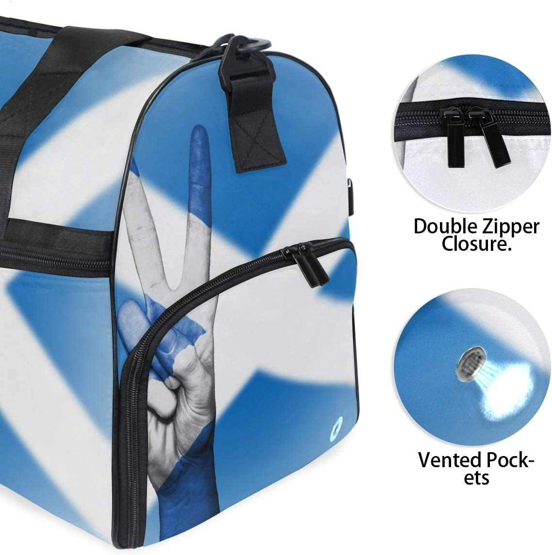 MUOOUM Scotland Flag Peace Hand Large Duffle Bags Sports Gym Bag with Shoes Compartment for Men and Women