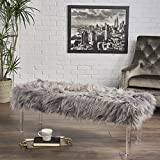 Great Deal Furniture Klamma Glam Grey Faux Fur Short and Straight Furry Ottoman with Clear Acrylic Legs