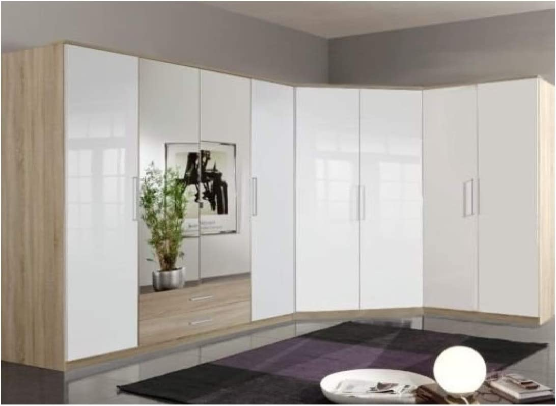 Germanica – armarios modulares de 8 puertas para esquina Bremen, conjunto de muebles para dormitorio en blanco y roble: Amazon.es: Hogar