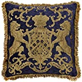 Adorabella Heraldic Royal Blue Pillow, Crest design with woven Latin inscription translating to ''My Faith is My Glory'', 21'' square pillow, home decor cushion with insert (filler) made in Australia.