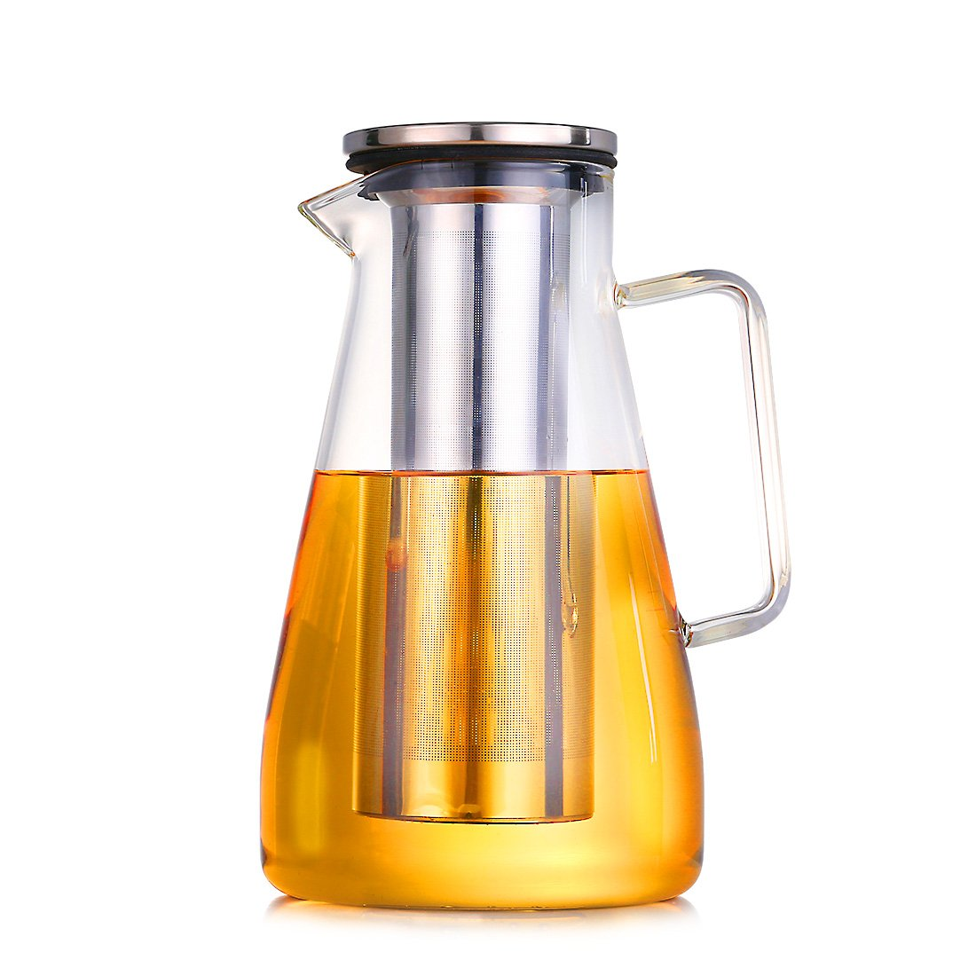 ONEISALL Airtight Glass Cold Brew Coffee Maker, Glass Coffee Carafe Pitcher with Removable Stainless Steel Filter, Fruit infuser pitcher, 1.8L (1.8L) by oneisall