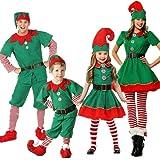 POLP Niño Regalo Cosplay Bebe Disfraz Infantil para Navidad Unisex Niños Dsifraces de Elfo Vestido Top Blusa Sombrero Disfraz de Santo Equipo del Duende 2-16 Años Disfraz de Elfo Unisexo Adultos