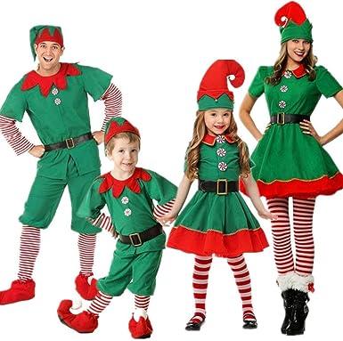 POLP niño Regalo Cosplay Bebe Disfraz Infantil para Navidad Unisex Niños Dsifraces de Elfo Vestido Top Blusa Sombrero Disfraz de Santo Equipo del Duende 2-16 Años Disfraz de Elfo Unisexo Adultos: Amazon.es: