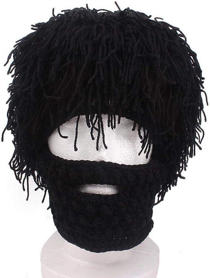 SHOUPI Hombres Peluca Hecha a Mano Sombreros de Barba Crochet ...