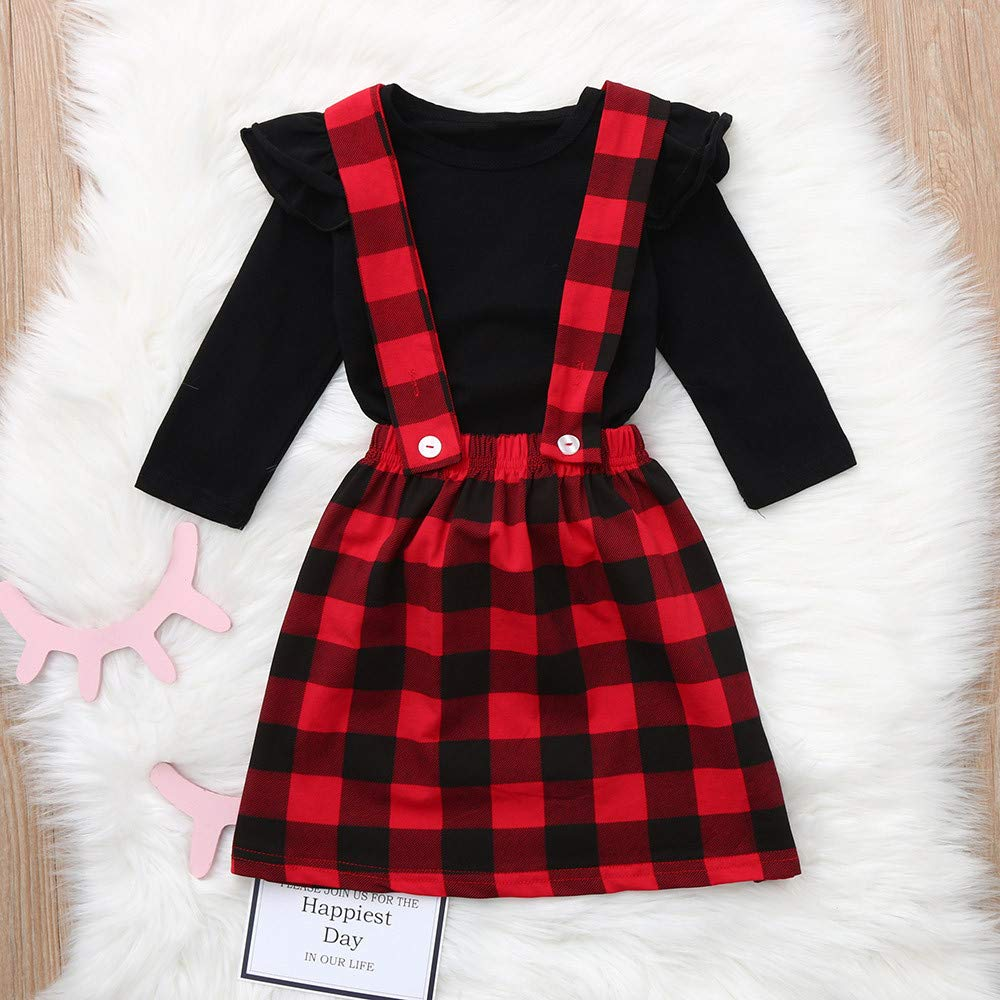 Clearance!1-4T Toddler Infant Baby Girls Long Sleeve Solid Ruffle Tops Plaid Strap Skirt 2pcs Clothing Outfit Set