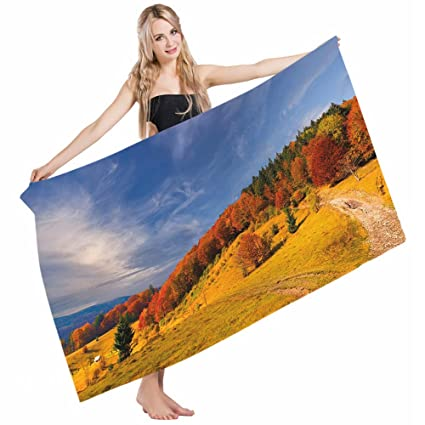 ad93265cd83e Mugod Beach Towel Bath Towels Fall Fresh Autumn on Mountain Valley Nature  Cloudy Sky High Lands