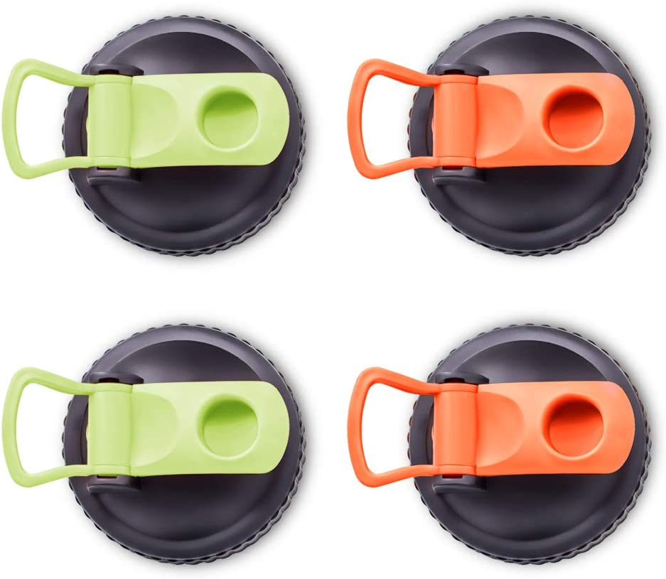 Plastic Mason Jars Lids Wide Mouth, 4 Pack Reusable Plastic Flip Cap Lids with Easy Pour Spout, Colored Leak-Proof Seal Storage Caps for Mason, Canning and Ball Jars, Green&Orange