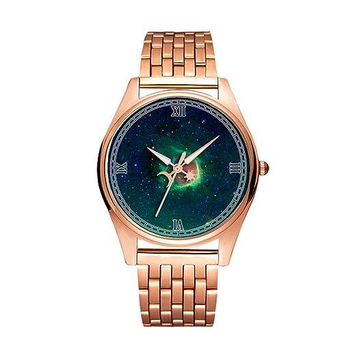 Reloj de Pulsera de Cuarzo Dorado Minimalista de Moda Ultra Delgado e Impermeable con patrón artístico 116.RCW 120: Amazon.es: Relojes