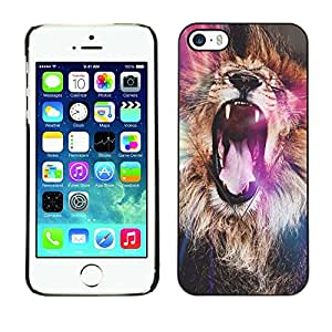 Plastic Shell Protective Case Cover || Apple iPhone 5 / 5S || Roar Yawn Fur Africa Abstract @XPTECH