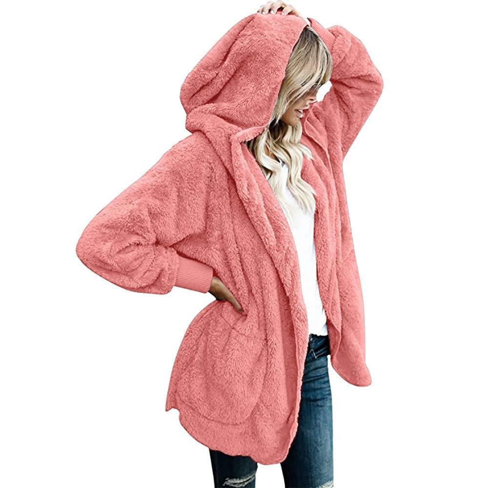 STORTO Womens Winter Warm Coat Women Faux Fur Wool Coat Parka Solid Puff Cardigan