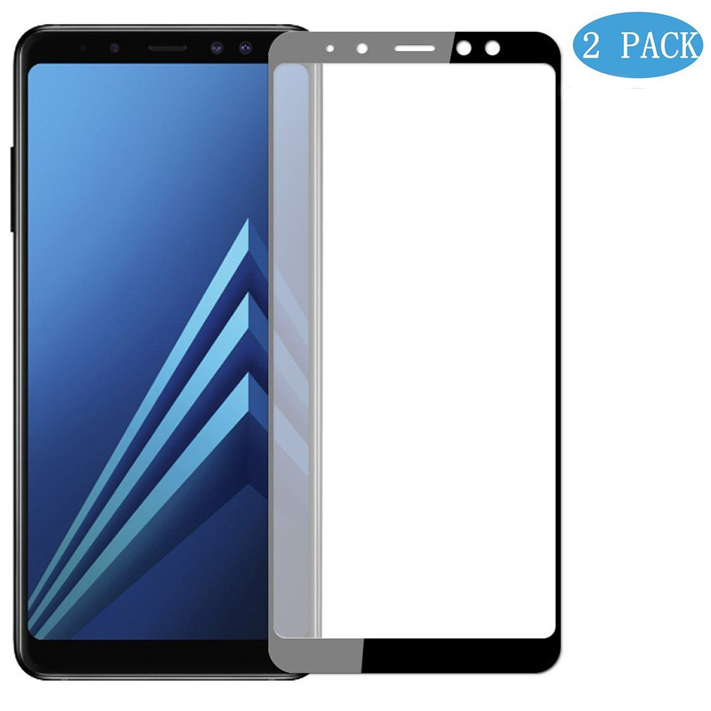[2-Pack] Samsung Galaxy A8 Screen Protector, MOCACA 9H Hardness 99% HD Clarity Premium Tempered Glass Screen Protector for Samsung Galaxy A8 2018 [Full Screen Coverage] - Black