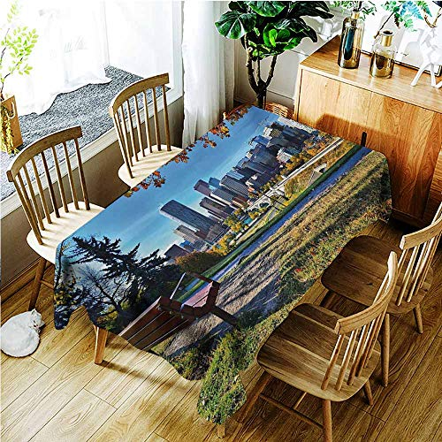 TT.HOME Washable Tablecloth,City Park Bench Overlooking The Skyline of Calgary Alberta During Autumn Tranquil Urban,Party Decorations Table Cover Cloth,W60x120L,Multicolor]()