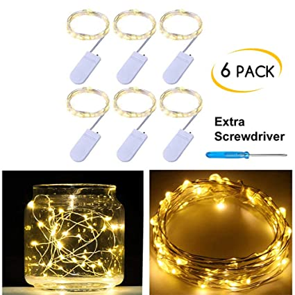Amazon.com: Pack of 6 LED Moon Starry String Lights with 20 Micro ...