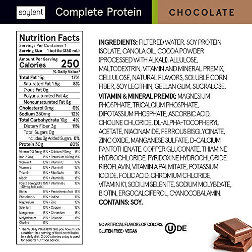 Soylent Complete Protein Gluten-Free Vegan Protein Meal Replacement Shake, Chocolate, 11 Oz, 12 Pack 3