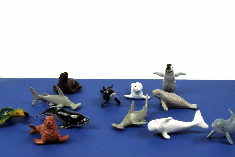 Miniblings 10x Meerestiere Meeresäuger Wale Tierfiguren Gummitiere Hai Kinder