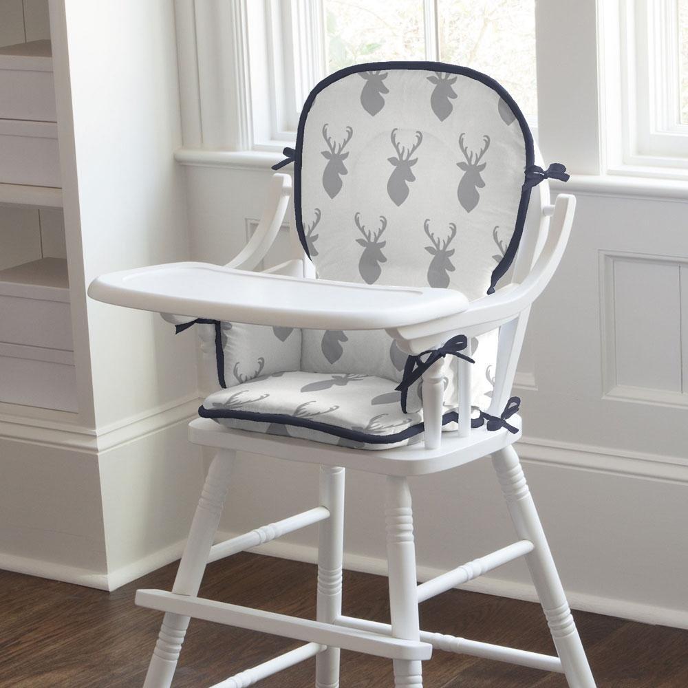 Carousel Designs Silver Gray Deer Head High Chair Pad