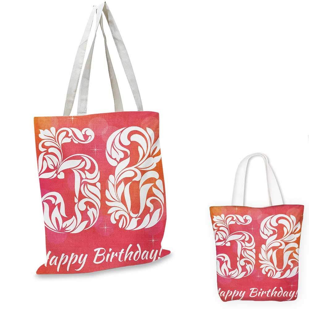 58th Birthday canvas messenger bag Number Typography Anniversary Age Unique Motif Floral Design Print canvas beach bag Dark Coral White 12x15-10