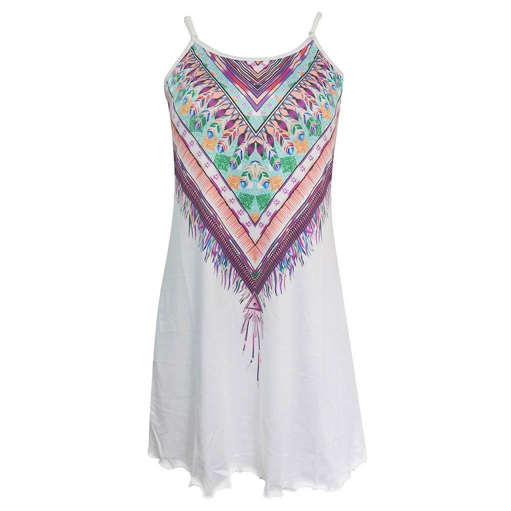 Sinfu Womens Summer Casual Lotus Print Sleeveless Camisole Dress Vintage Boho Beach Short Mini Dress