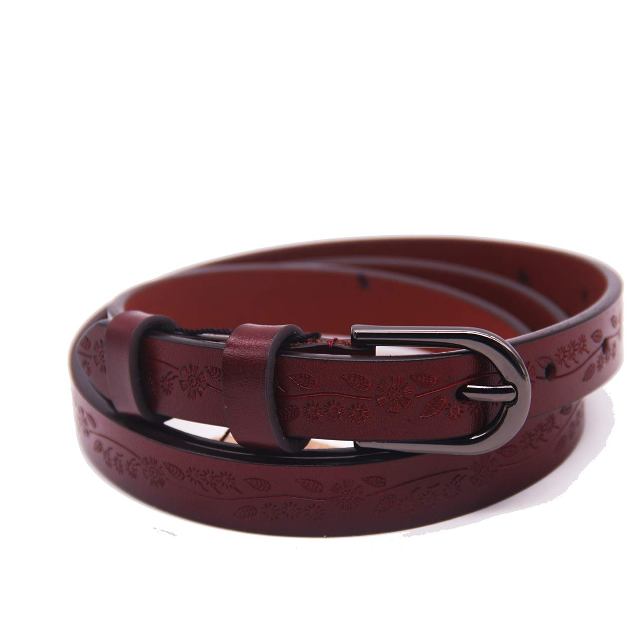 Women Printed Leather Belt for Pants Dress Jeans Waist Belt with Alloy Buckle