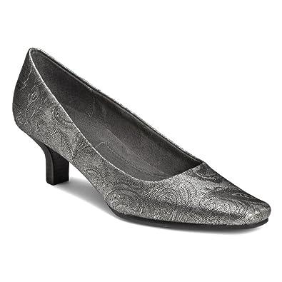 A2 by Aerosoles Dimperial Low Heel Dress Pumps Black/Silver Fabric 8.5 M