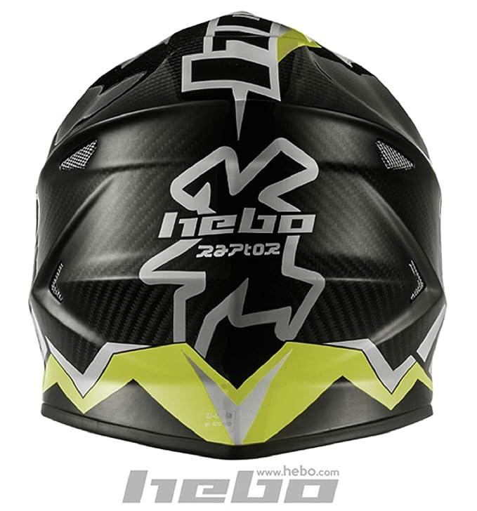 HEBO Enduro-MX Raptor Carbon Casco, negro con verde, Talla XS: Amazon.es: Coche y moto