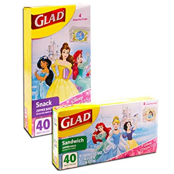 c0bd5b06e13 Amazon.com  Glad Disney Princess Lunch Bags for Kids Girls -- 80 Ct ...