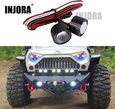Für TRAXXAS 1//10 Wrangler RC Crawler Auto Zubehör Metall LED Lampe Scheinwerfer