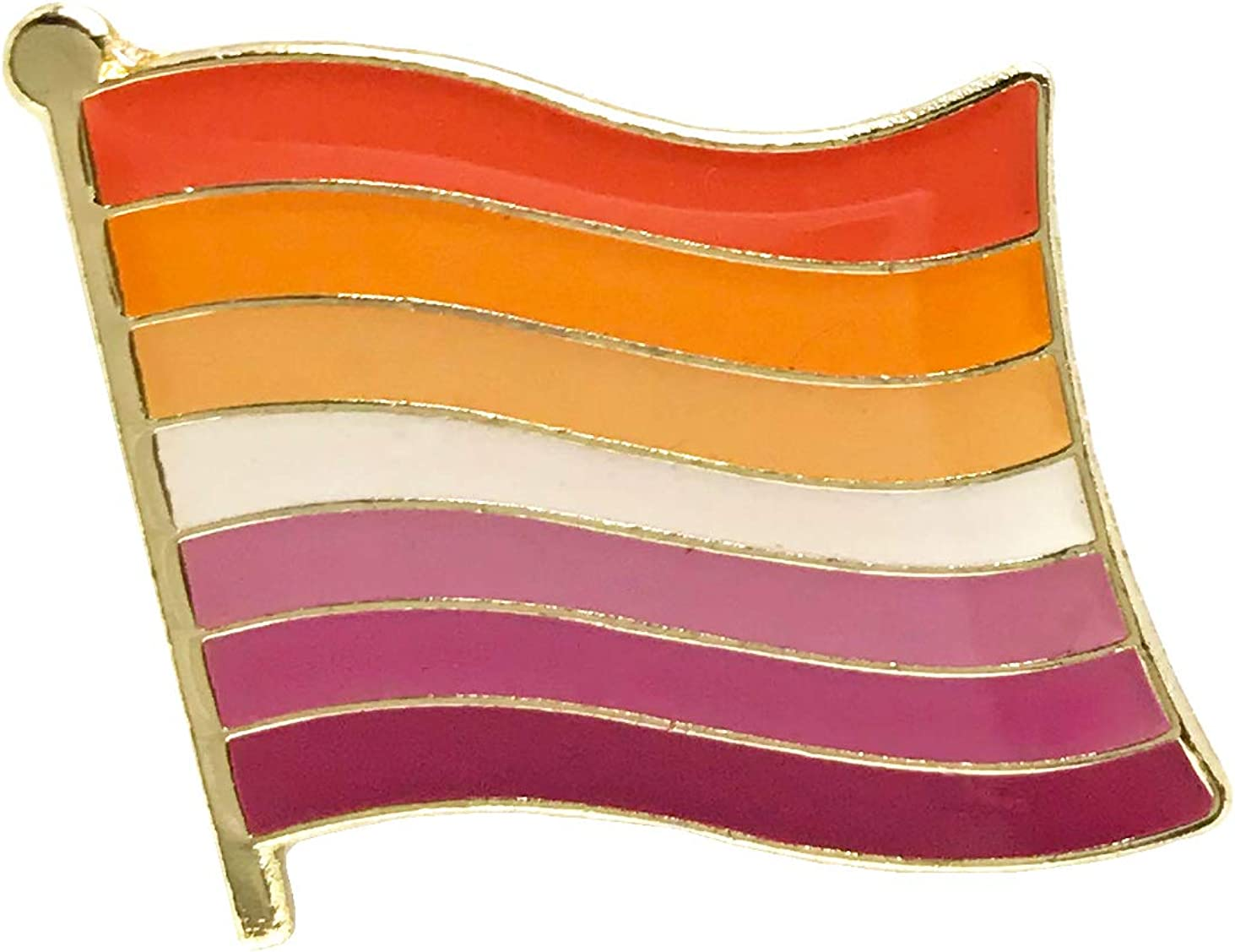 New Lesbian Flag LGBT Gay Pride Rainbow Enamel Lapel Pin
