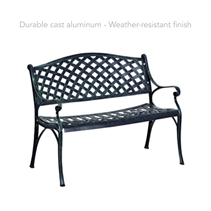 "koonlert Shop 40"" Antique Outdoor Garden Bench Sturdy Cast Aluminum  Frame Seats Chair Home Backyard - Amazon.com : Koonlert Shop 40"