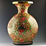 12'' Oriental Flowers Hand Painted Wooden Vase