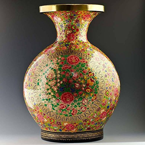 12'' Oriental Flowers Hand Painted Wooden Vase by BestPysanky