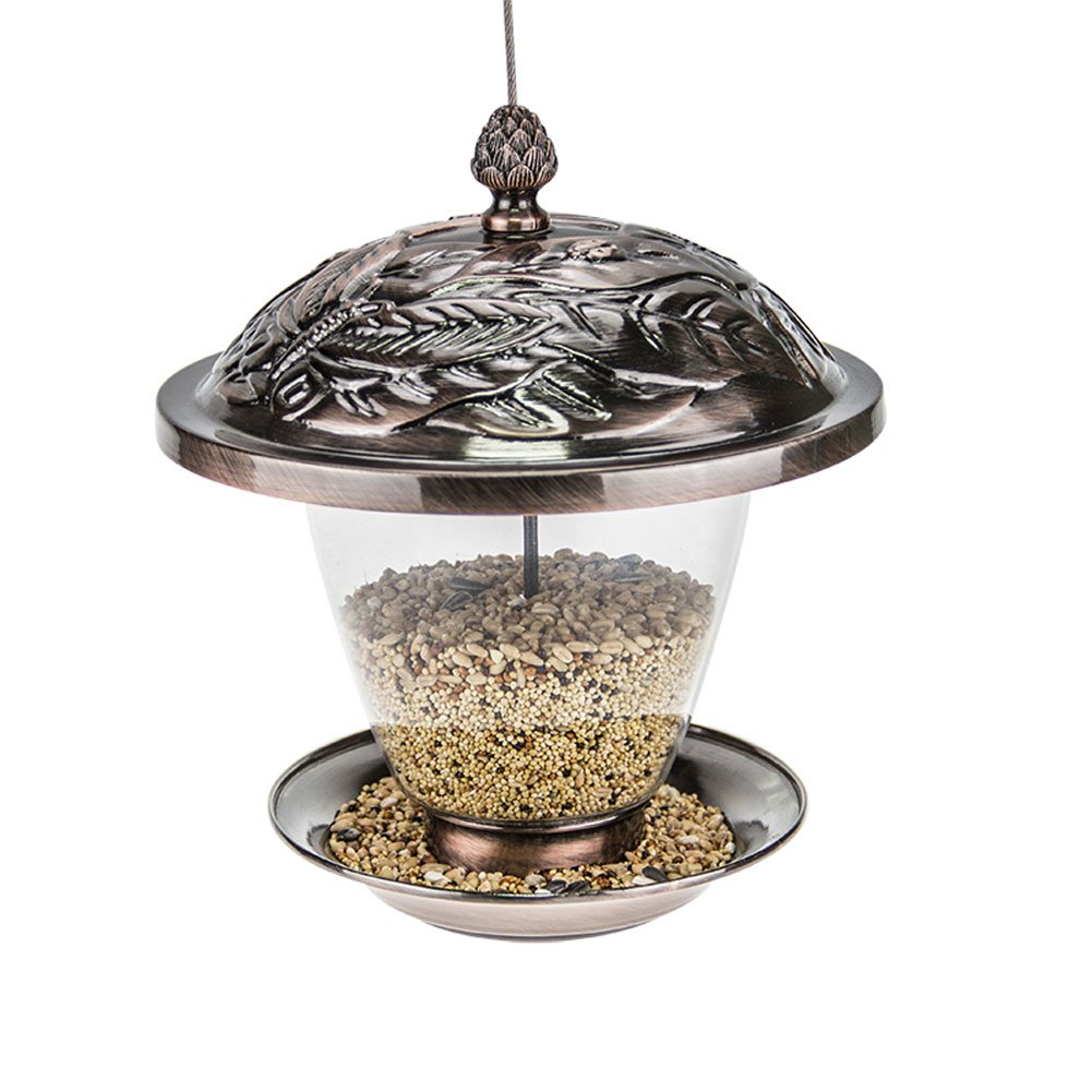 Sungmor MD Garden Bronze Metal Hanging Bird Feeder with Decorative Lantern Appearance Design