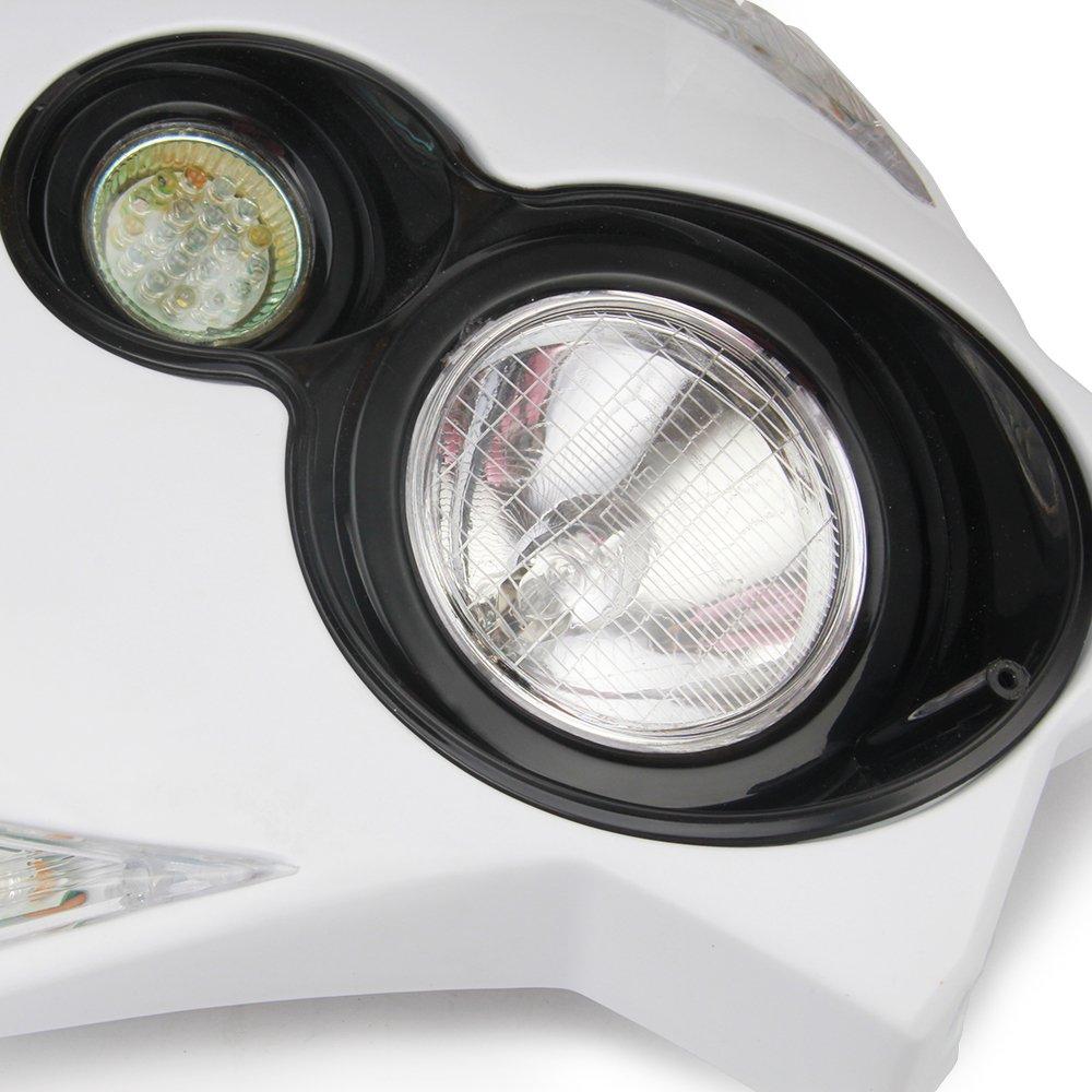 JFG RACING S2 12V 35W Universal Motorcycle Headlight Dual Lights Head Lamp Led Lights For Dirt Pit Bike ATV Black