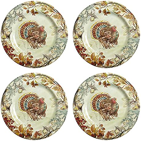 Traditional Harvest Turkey Extra Heavyweight Melamine Dinnerware 14 Piece Service For 4 Includes 2 Serving Pieces