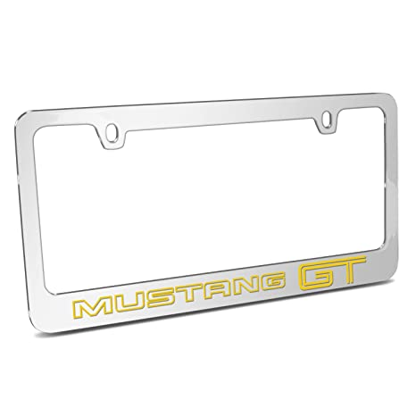 Ford Mustang GT Outline In Yellow Mirror Chrome Metal License Plate Frame