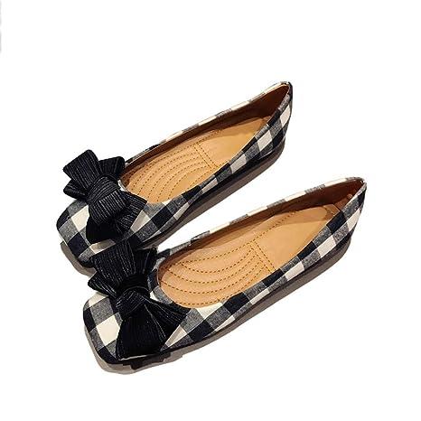 d4d84f6723a47 Amazon.com: August Jim Women's Flat Shoes,Slip-on Casual Bowknot ...