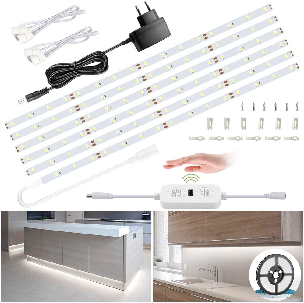 6M Tiras LED Regulables 12V, Ustellar 360 LEDs Clips 1800lm, Tira LED Luz Blanco Frío 6000K, LED Mano Sensor Movimiento Enchufe, Decoración Iluminación Ambiental para Gabinete, Armario