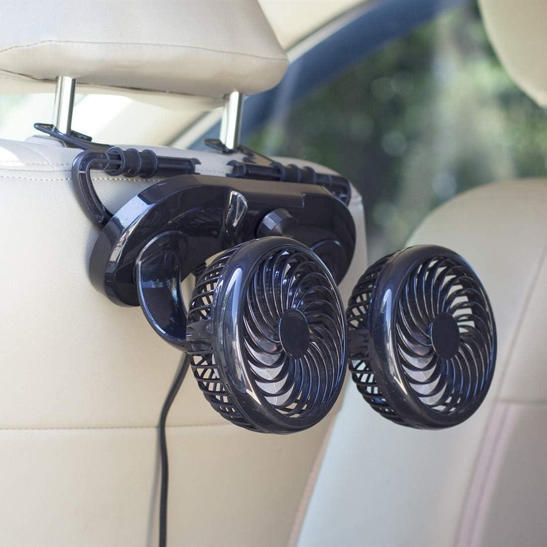 HITOPTY 12V Electric Car Fan, 2 Head 360 Degree Swivel 2 Speed Backseat Fan for Auto Vehicle RV SUV