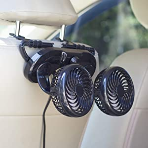 HITOPTY 12V Electric Car Fan, 2 Head 360 Degree Swivel 2 Speed Backseat Fan for Auto Vehicle RV SUV