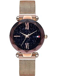 Mujer Relojes, Lananas Cielo Estrellado Marcar Corte de Diamantes Malla Correas Pulsera Reloj
