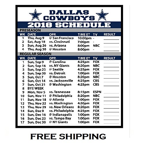 2018 Dallas Cowboys NFL Football Schedule and Scores Refrigerator Magnet #508