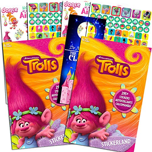 DreamWorks Trolls Stickerland Stickers Set -- Over 590 Trolls Stickers and Separately Licensed Door Hanger (8 Party Sticker Sheets)