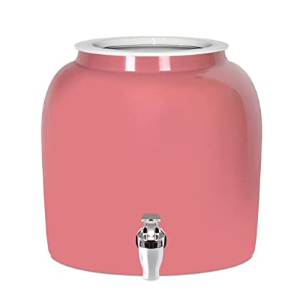 Brio Solid Porcelain Ceramic Water Dispenser Crock with Faucet - LEAD FREE (Pink)
