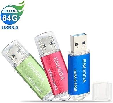 64GB Memorias USB 3.0 3 Piezas ENUODA Pendrive Giratoria Diseño Flash Drive Almacenamiento Externo (Verde Rojo Azul): Amazon.es: Electrónica