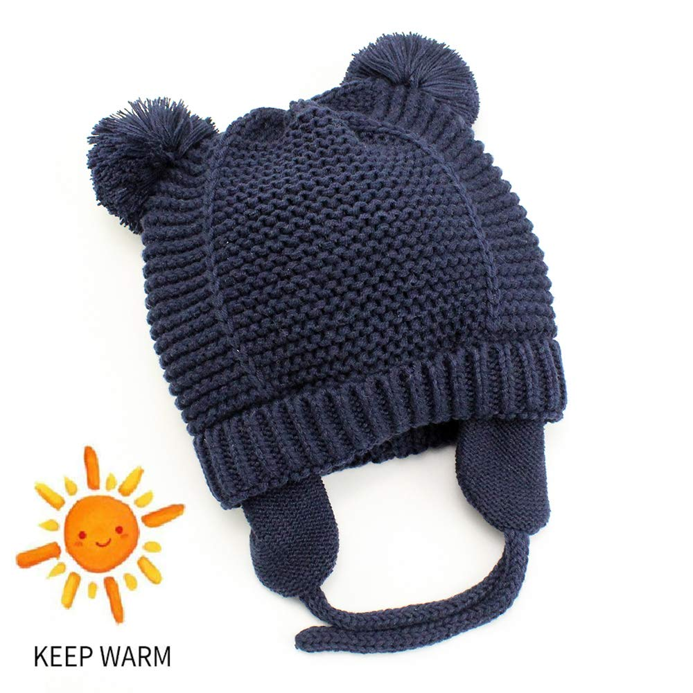 Century Star Knitted Double Layers Baby Boys Girls Infant Earflap Hairballs Unisex Cozy Bear Winter Hats Beanies YNCUDS2670A0000SN