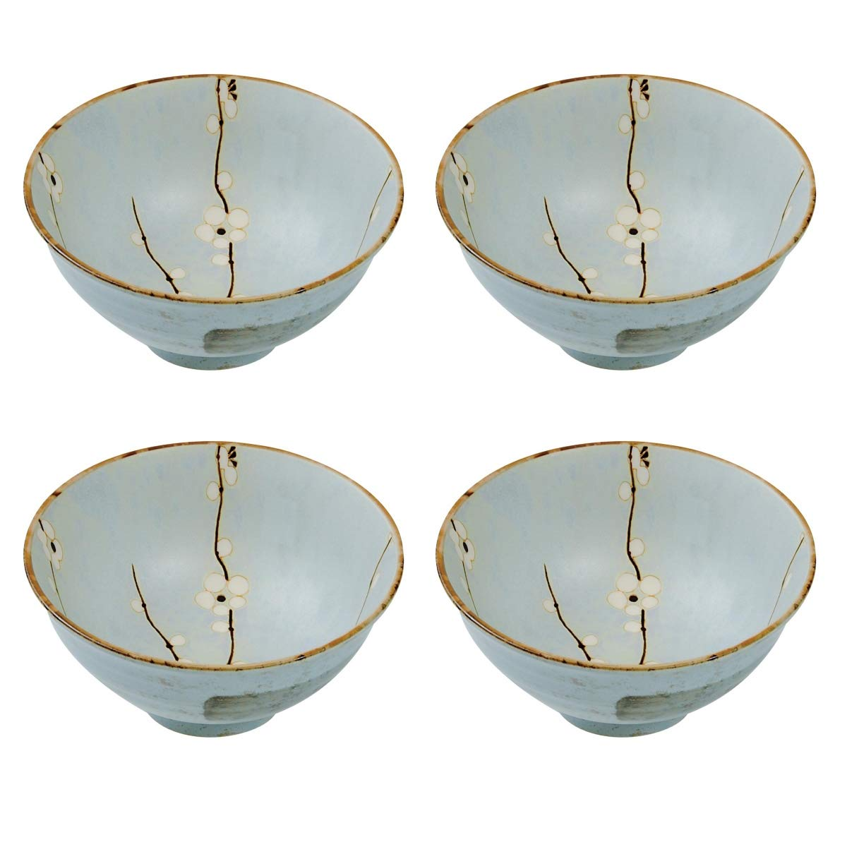 Hinomaru Collection Japanese Soshun Early Spring Cherry Blossom Set of 4 Ceramic Donburi Rice Bowl Tayo Multi Purpose Mint Green - Made In Japan (6.25'' Dia x 3.25'' H)