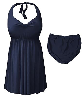 b822e24a5ea Sanctuarie Designs Navy 2 Piece Halter Style Plus Size Swimdress at ...