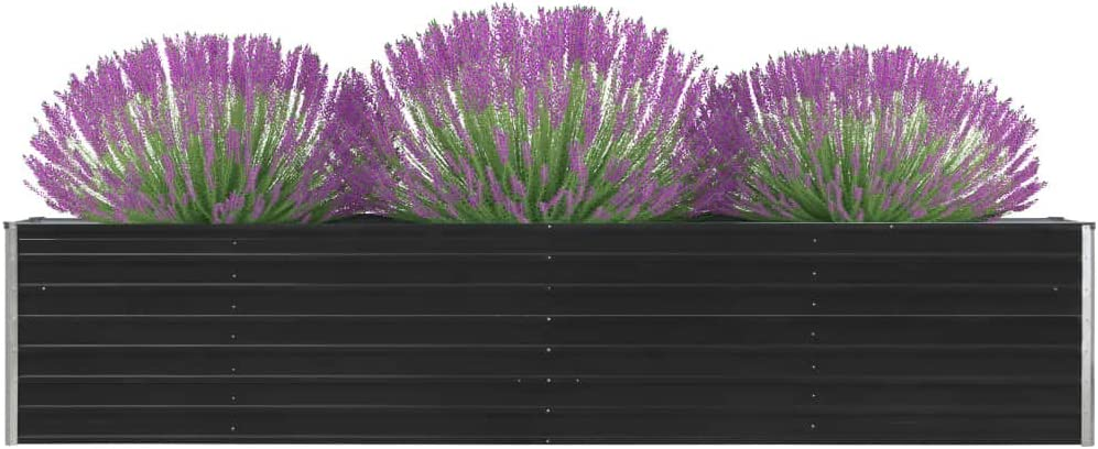 VidaXL Jardini/ère de jardin en acier galvanis/é Anthracite 320 x 80 x 45 cm