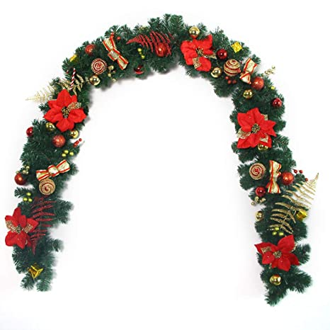 funpa christmas garland xmas decor flower pine garland christmas ornament m - Garland Christmas Decor