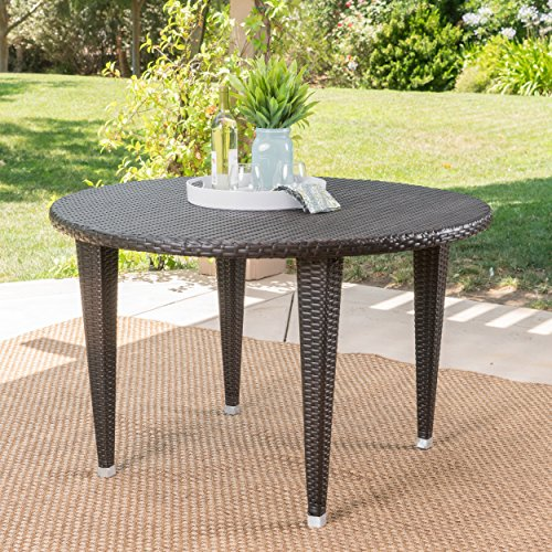 Dúnedain Outdoor Round Wicker Dining Table (Multi-Brown)